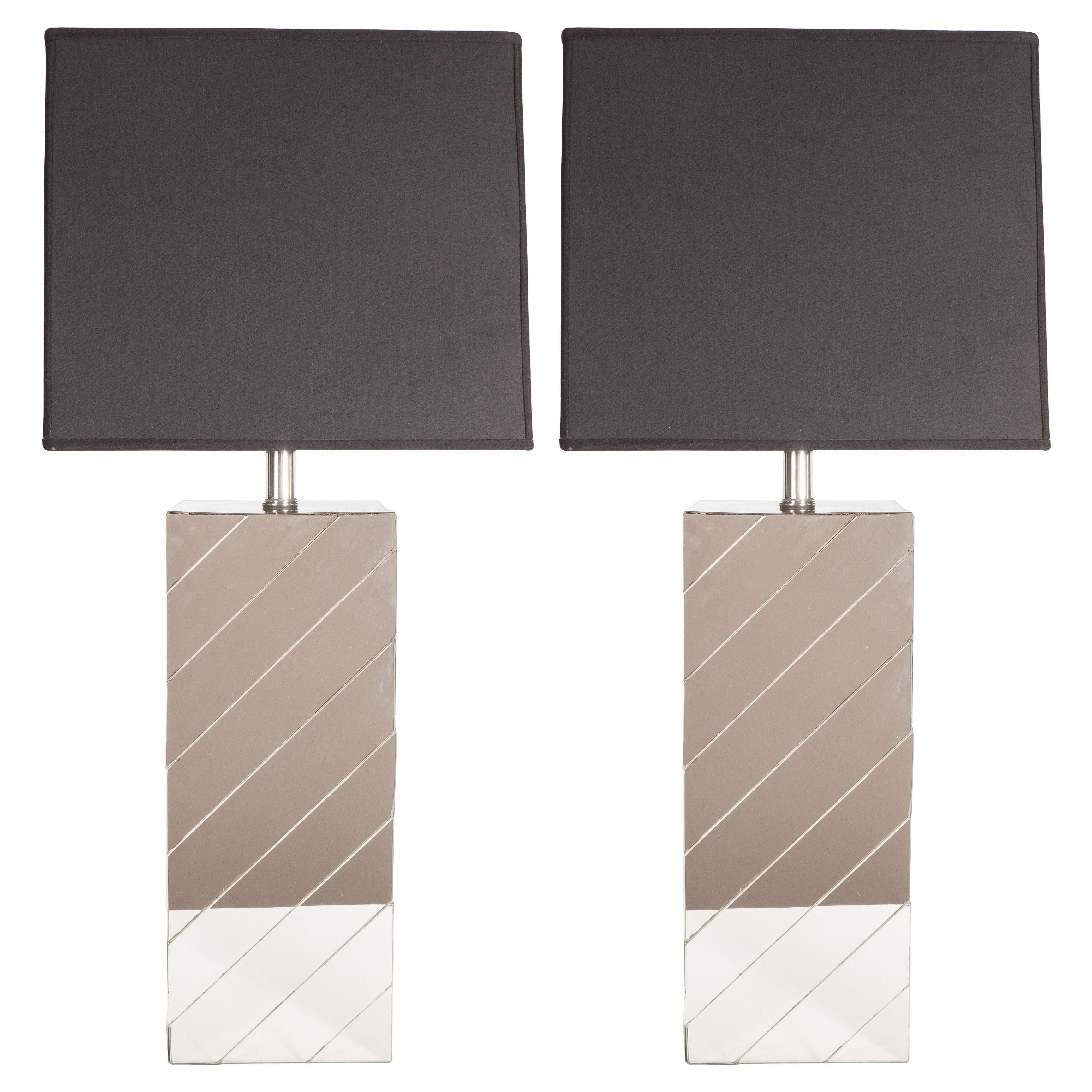 Pair of Mid-Century Modern Rectangular Mirrored Table Lamps with Nickel Fittings