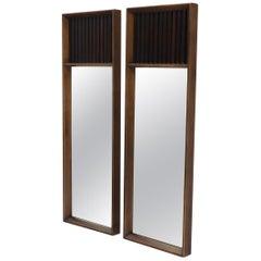 Pair of Mid-Century Modern Rectangular Walnut Wall Mirrors