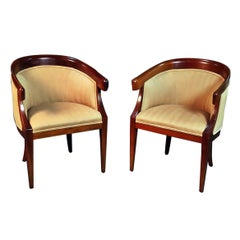 Pair of Mid-Century Modern Regency Style Club Chairs