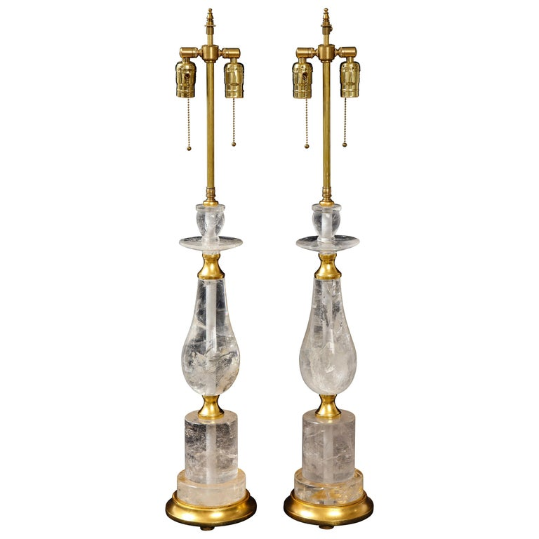 "Pair of Mid-Century Modern Rock Crystal Quartz Mounted Lamps, Att. to ""Bagues"" For Sale"