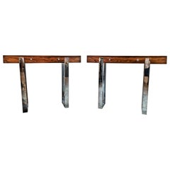 Pair of Mid-Century Modern Rosewood and Chrome Console Tables, Italian