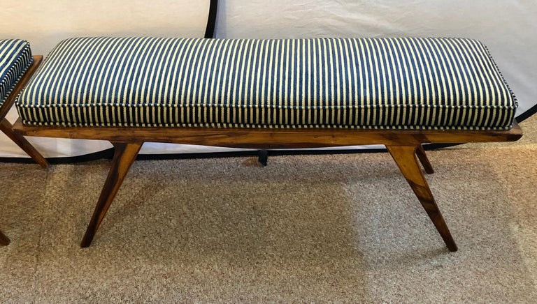 Pair of Mid-Century Modern Rosewood Benches Refinished and Reupholstered In Good Condition For Sale In Stamford, CT