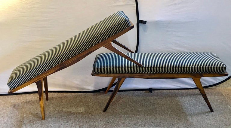 20th Century Pair of Mid-Century Modern Rosewood Benches Refinished and Reupholstered For Sale