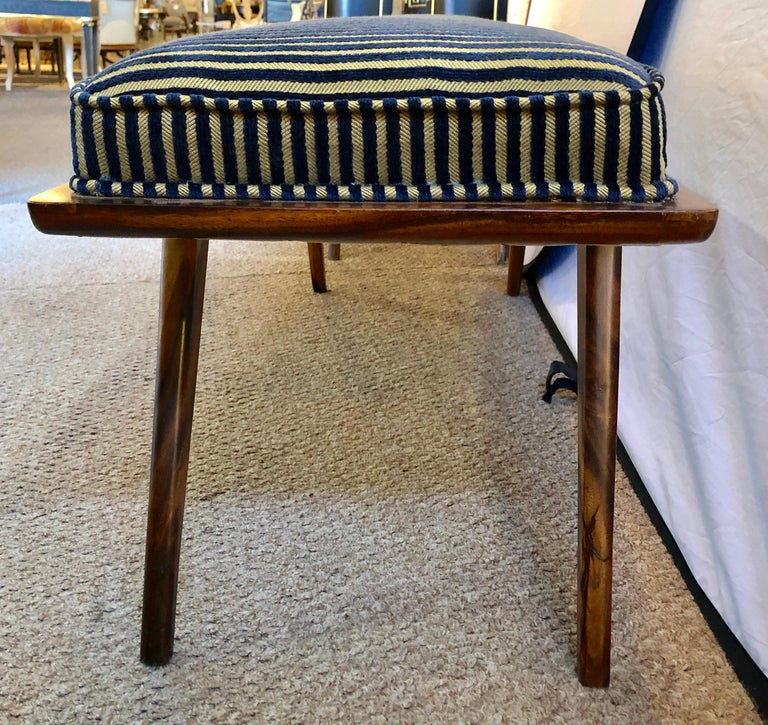 Pair of Mid-Century Modern Rosewood Benches Refinished and Reupholstered For Sale 2
