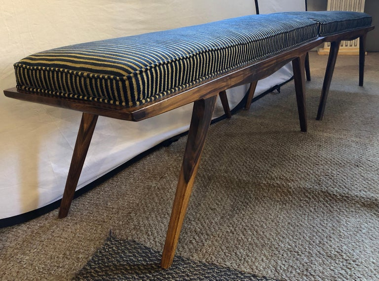 Pair of Mid-Century Modern Rosewood Benches Refinished and Reupholstered For Sale 4