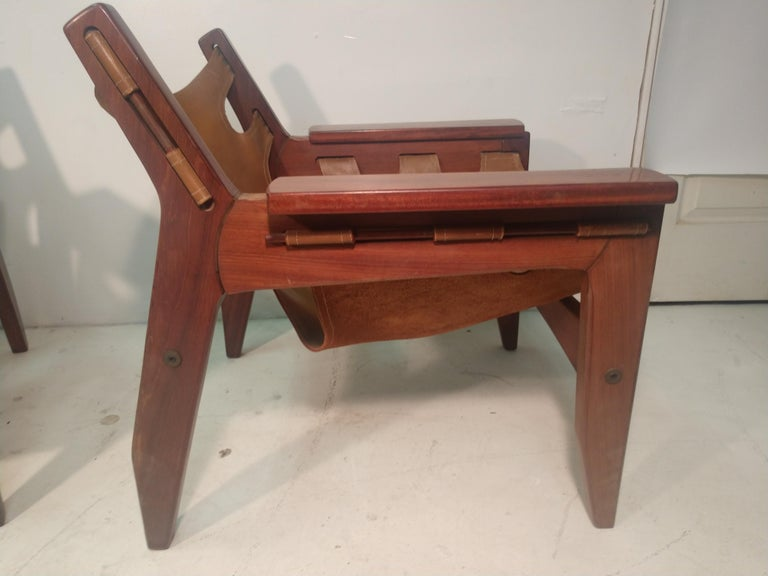 Pair of Mid-Century Modern Rosewood & Leather Lounge Chairs by Sergio Rodrigues For Sale 5