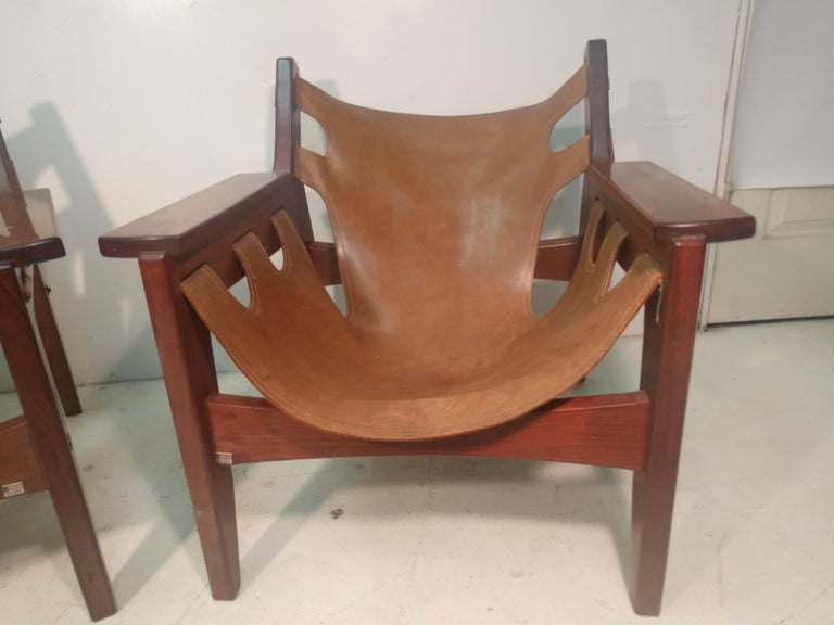 Pair of Mid-Century Modern Rosewood & Leather Lounge Chairs by Sergio Rodrigues For Sale 6