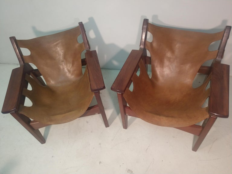 Pair of Mid-Century Modern Rosewood & Leather Lounge Chairs by Sergio Rodrigues For Sale 9