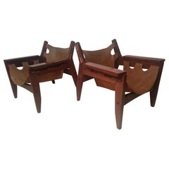 Pair of Mid-Century Modern Rosewood & Leather Lounge Chairs by Sergio Rodrigues