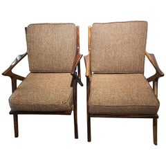 Pair of Mid-Century Modern Rosewood or Walnut Armchairs Newly Upholstered