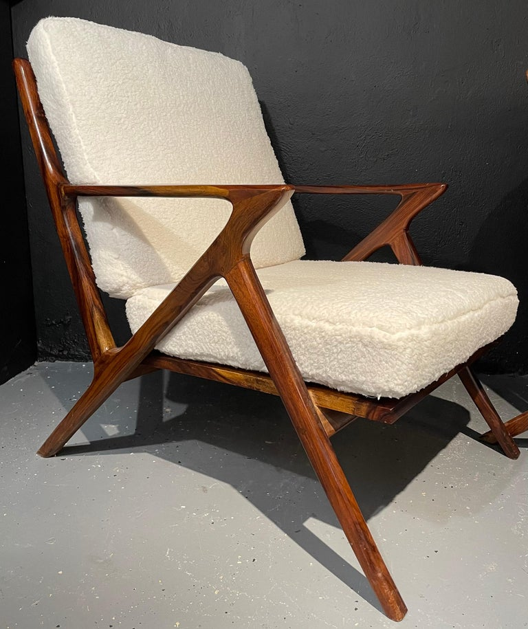 Pair of Mid-Century Modern Rosewood or Walnut Armchairs Sherpa, Upholstered In Good Condition For Sale In Stamford, CT