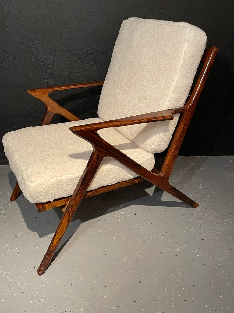 20th Century Pair of Mid-Century Modern Rosewood or Walnut Armchairs Sherpa, Upholstered For Sale