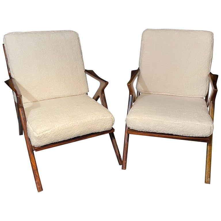 Pair of Mid-Century Modern Rosewood or Walnut Armchairs Sherpa, Upholstered For Sale