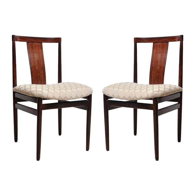 Pair of Mid-Century Modern Rosewood Side or Office Chairs with Upholstered Seat