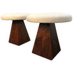 Pair of Mid-Century Modern Rosewood Stools with Boucle Fabric