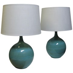 Pair of Mid Century Modern Round Drip Glaze Pottery Table Lamps