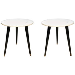 Pair of Mid-Century Modern Round Marble-Top Side Tables