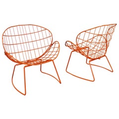 Pair of Mid-Century Modern Salterini Style Clam Shell Outdoor Patio Chairs