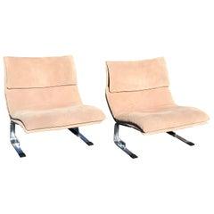 "Pair of Mid-Century Modern Saporiti Suede ""Onda"" Lounge Chairs, Italy, 1970s"