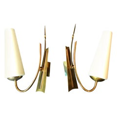 Pair of Mid-Century Modern Sconces, France, 1950