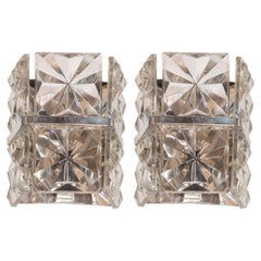 Pair of Mid-Century Modern Sconces in Bevelled and Cut Glass by Kinkeldey