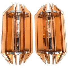 Pair of Mid-Century Modern Sconces Veca, Chrome and Glass Vintage, Italy, 1970s
