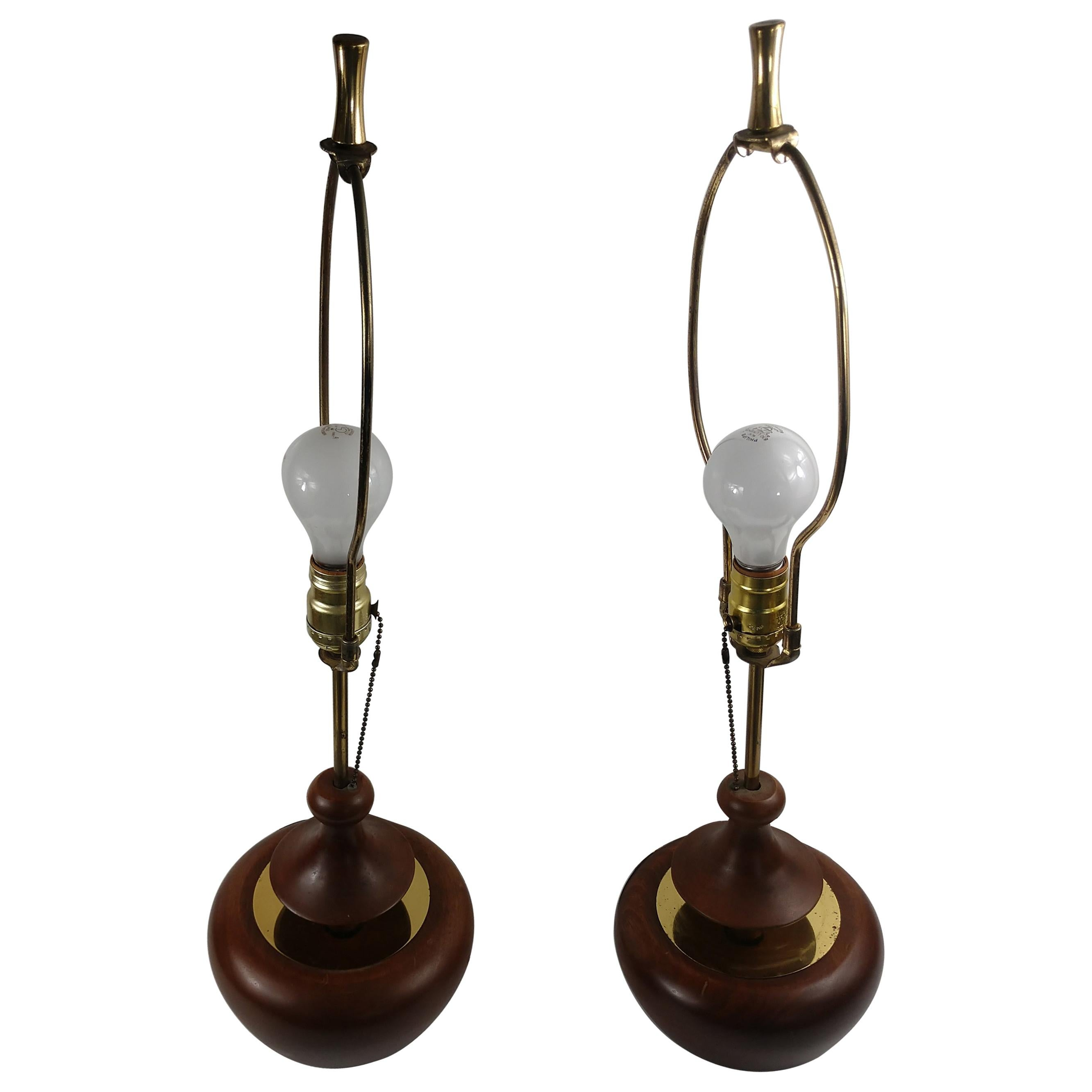 Pair of Mid-Century Modern Sculptural Danish Table Lamps