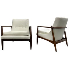 Pair of Mid-Century Modern Sculptural Lounge Chairs style of IB Kofod-Larsen