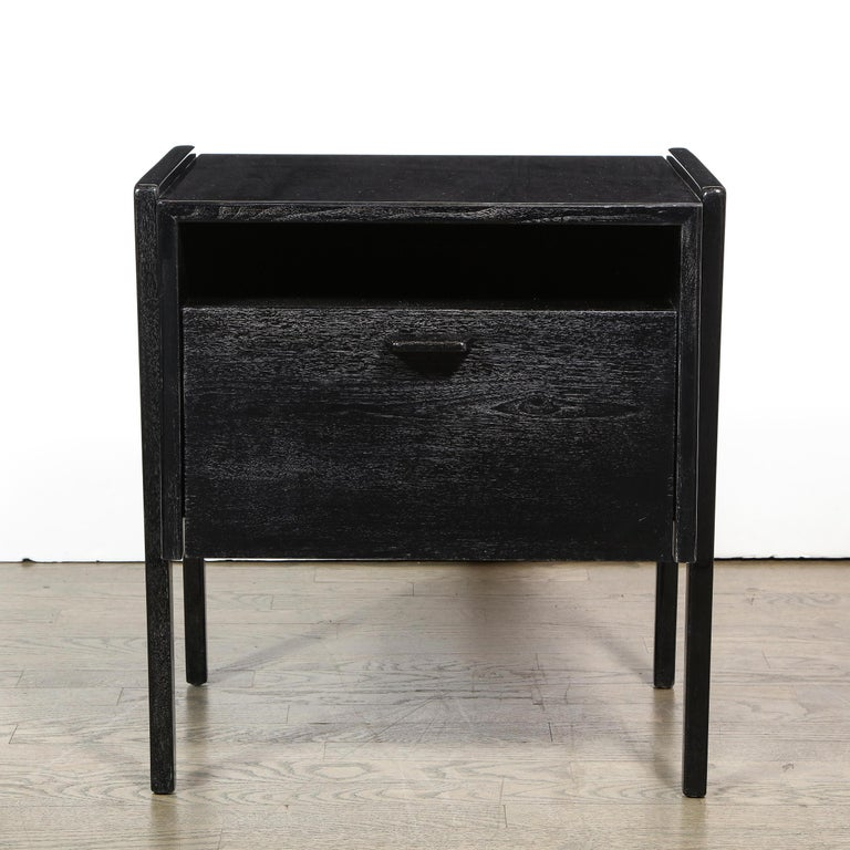 Pair of Mid-Century Modern Sculptural Silver Cerused Oak Nightstands In Excellent Condition For Sale In New York, NY