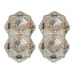 Pair of Mid Century Modern Sculptural Translucent Ziggurat Sconces by Kinkeldey