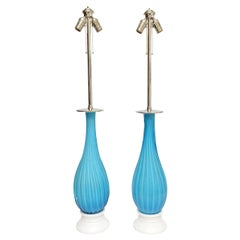 Pair of Mid-Century Modern Seguso for Marbro Murano Glass Lamps