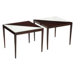Pair of Mid-Century Modern Side Tables with Marble Inserts, circa 1950