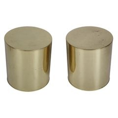 Pair of Mid-Century Modern Signed Curtis Jeré Brass Drum End Tables