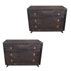 Pair of Mid-Century Modern Silver Cerused Chests with Stylized Brass Pulls