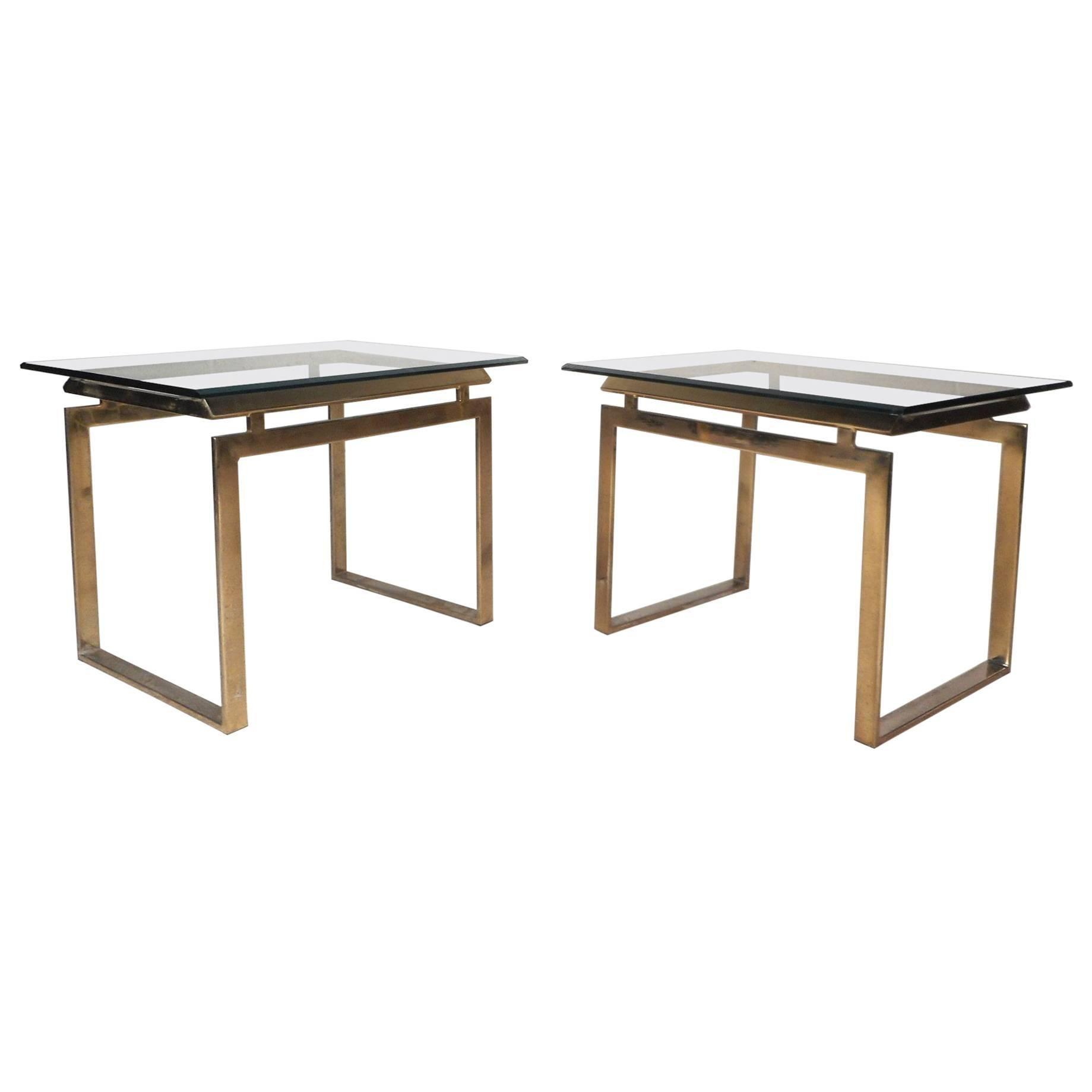Pair of Mid-Century Modern Sled Leg End Tables
