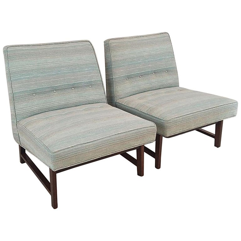 Fabulous Pair Of Mid Century Modern Slipper Chairs By Edward Wormley For Dunbar Theyellowbook Wood Chair Design Ideas Theyellowbookinfo
