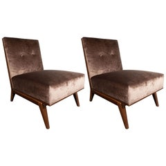 Pair of Mid-Century Modern Slipper Chairs in Hand-Rubbed Walnut & Bronze Velvet