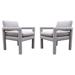 Pair of Mid Century Modern Small Scale Petite Parsons Armchair Lounge Chairs