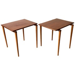 Pair of Mid-Century Modern Small Teak Stacking Side Tables, Denmark, 1960s