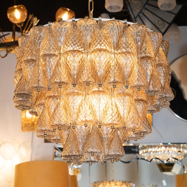 Italian Mid-Century Modern Smoked Glass Chandelier Attributed to Seguso For Sale