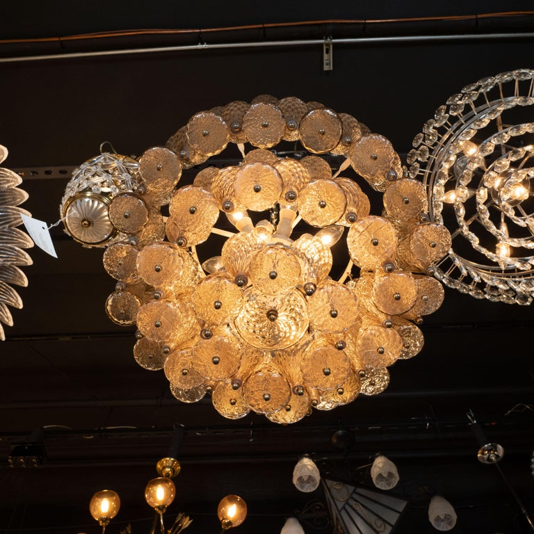 Brass Mid-Century Modern Smoked Glass Chandelier Attributed to Seguso For Sale