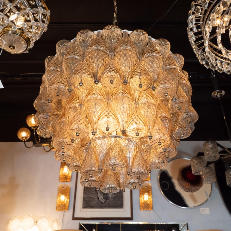 Mid-Century Modern Smoked Glass Chandelier Attributed to Seguso For Sale 2