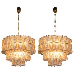 Pair of Mid-Century Modern Smoked Glass Chandeliers by Carlo Scarpa for Venini