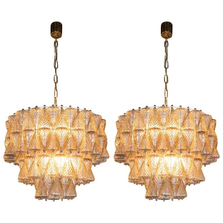 Pair of Mid-Century Modern Smoked Glass Chandeliers by Carlo Scarpa for Venini For Sale