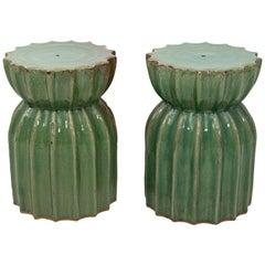 Pair of Mid-Century Modern Soft Green Fluted Terracotta Garden Stools