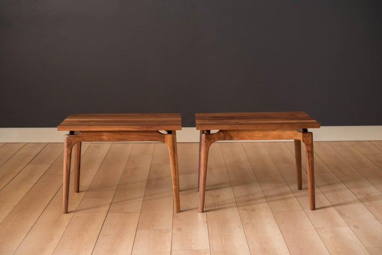 American Pair of Mid-Century Modern Solid Walnut End Tables For Sale