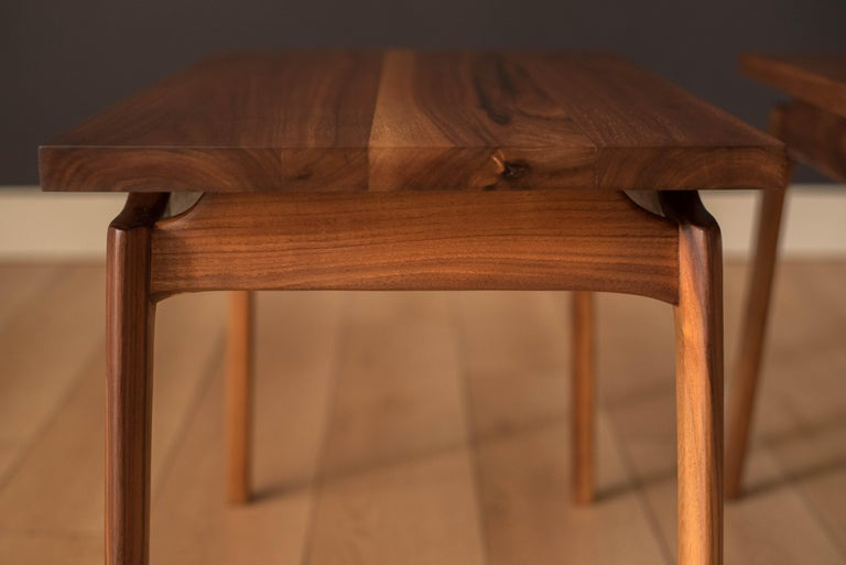 Pair of Mid-Century Modern Solid Walnut End Tables For Sale 4