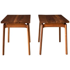 Pair of Mid-Century Modern Solid Walnut End Tables