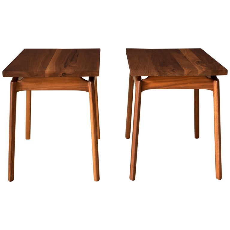 Pair of Mid-Century Modern Solid Walnut End Tables For Sale
