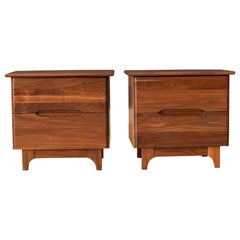 Pair of Mid-Century Modern Solid Walnut Nightstands